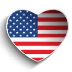 USA Flag Heart Paper Sticker — Stock Vector