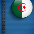 Stock Vector: Algeria Flag Button in Jeans Pocket
