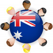 Australia Flag Button Teamwork Group — Stock Vector
