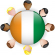 Ireland Flag Button Teamwork Group — Stock Vector