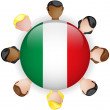 Italy Flag Button Teamwork Group — Stock Vector