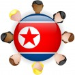 North Korea Flag Button Teamwork Group — Imagens vectoriais em stock