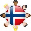 Norway Flag Button Teamwork Group — Stock Vector
