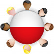 Poland Flag Button Teamwork Group — Stock Vector