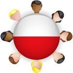 Poland Flag Button Teamwork Group — Stock Vector