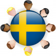 Sweden Flag Button Teamwork Group — Stock Vector