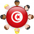 Tunisia Flag Button Teamwork Group — Stock Vector