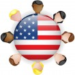 USA Flag Button Teamwork Group — Imagen vectorial