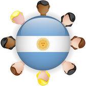 Argentina Flag Button Teamwork Group — Stock Vector