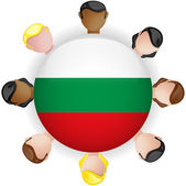 Bulgaria Flag Button Teamwork Group — Stock Vector