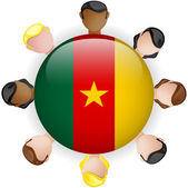 Cameroon Flag Button Teamwork Group — Stockvector