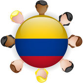 Colombia Flag Button Teamwork Group — Stock Vector