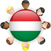 Hungary Flag Button Teamwork Group — Stock Vector
