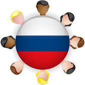 Russia Flag Button Teamwork Group — Stock Vector