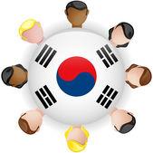 South Korea Flag Button Teamwork Group — Stock vektor