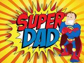 Super Man Hero Dad. Happy Father Day — Stock Vector