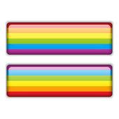 гей флаг равный полосатый стикер — Cтоковый вектор