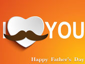 Happy Father Day Mustache Love — Stock Vector