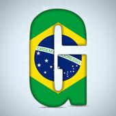 Alfabeto brasileño brasil bandera letras palabras — Vector de stock