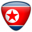 Stock Vector: North Korea Flag Glossy Button