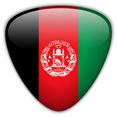 Afghanistan Flag Glossy Button — Stock Vector
