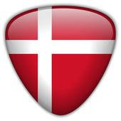 Denemarken vlag glanzende knop — Stockvector