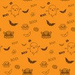 Halloween Ghost Bat Pumpkin Seamless Pattern Background — Stock Vector
