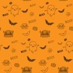 Halloween fantasma morcego abóbora sem costura fundo — Vetor de Stock  #31079883