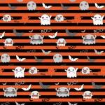 Halloween Ghost Bat Pumpkin Seamless Pattern Background — Stock Vector