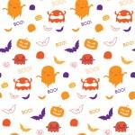 Halloween Ghost Bat Pumpkin — Stock Vector