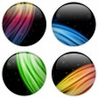 Glass Circle Button Colorful Neon Waves — Image vectorielle