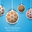 Stock Vector: Merry Christmas Flower Balls with Retro Background