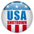 United States Shutdown Government Button — Stock Vector