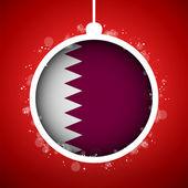 Merry Christmas Red Ball with Flag Qatar — Stock Vector