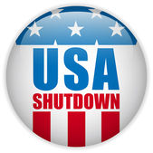 United States Shutdown Government Button — Stock Vector