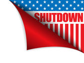 Shutdown Closed United States of America Page Corner — Stock Vector