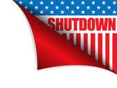 Shutdown Closed United States of America Page Corner — Stock Vector