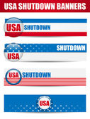 Government Shutdown USA Closed Banners. — Stock Vector