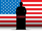 USA Shutdown Closed Speech Tribune Silhouette — Stock Vector