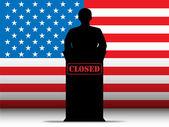 USA Shutdown Closed Speech Tribune Silhouette — Stock Vector