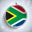 Merry Christmas Ball with Flag South Africa — Stock Vector