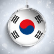 Merry Christmas Ball with Flag South Korea — Stock Vector