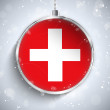 Merry Christmas Ball with Flag Switzerland — Stock Vector