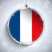 Merry Christmas Ball with Flag France — Stock Vector