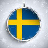 Merry Christmas Ball with Flag Sweden — Stock Vector