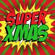 Merry Christmas Super Hero Background — Stock Vector