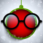 Merry Christmas Red Ball with Glasses — Stock Vector