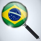 NSA USA Government Spy Program Country Brazil — Stock Vector