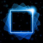 Blaue quadratische linien hintergrund-neon-laser — Stockvektor