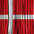 Denmark Flag Wave Fabric Texture  — Stock Vector